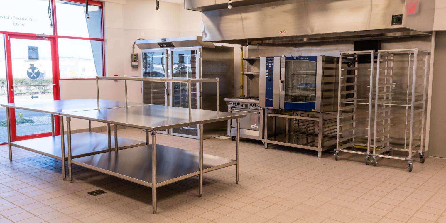 View of a kitchen at the culinary accelerator