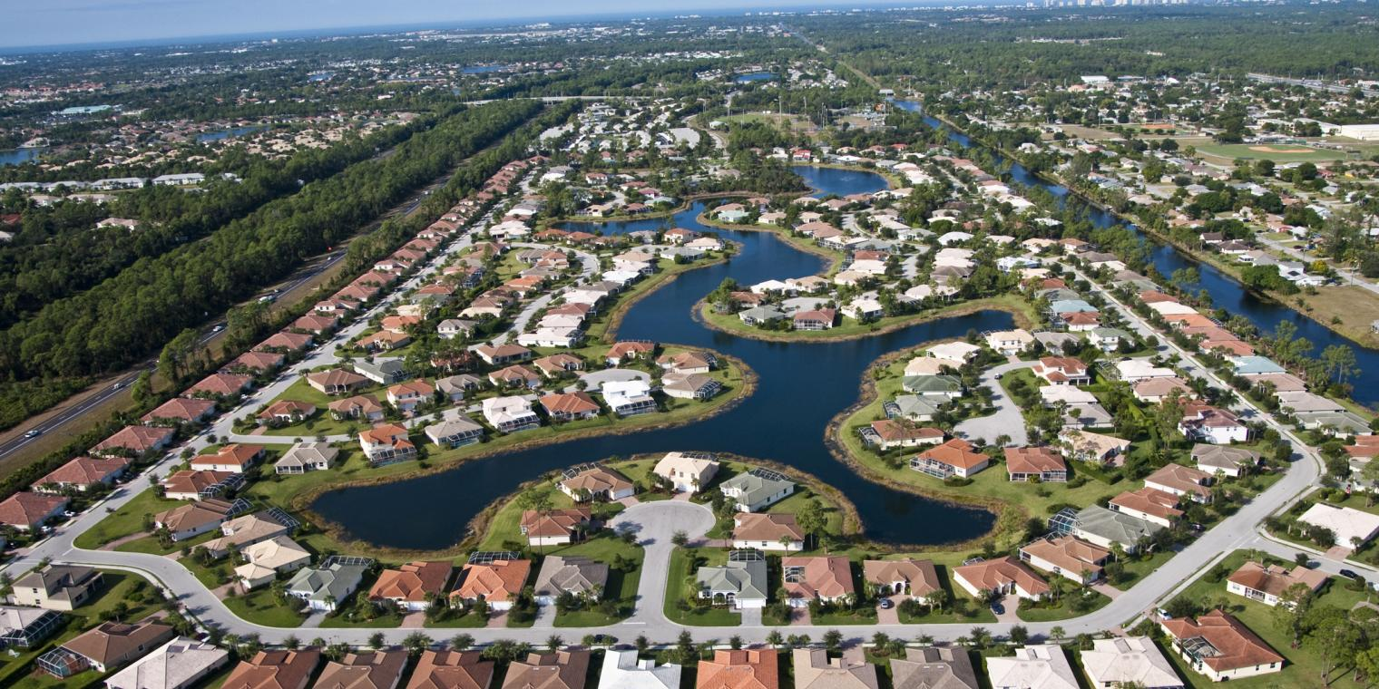 Aerial view of Collier County Houses/Businesses